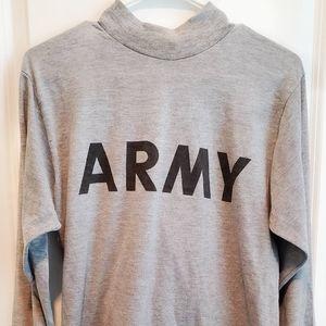 Army mock neck long sleeve tee
